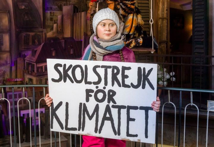 A wax figure, which is supposed to represent the Swedish climate activist Greta Thunberg, is displayed in the Panoptikum waxworks at the Reeperbahn in Hamburg, Germany, Jan. 29, 2020. According to the Panoptikum, it is the world's first Greta Thunberg wax figure. (Markus Scholz/dpa via AP)