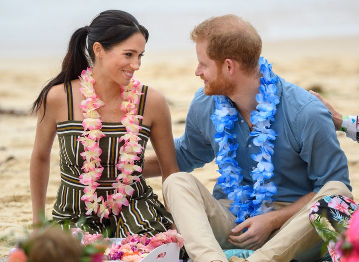 A snap of Prince Harry and Meghan Markle during their Australia tour in October 2018.