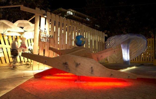 Βραδυνή αποψη από το Eco Museum του Green Design Festival (2010)  Σχεδιασμός: Kωνσταντίνος Χούρσογλου-A&M Architects
