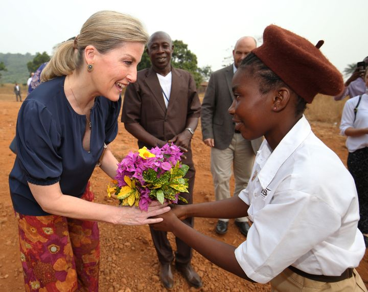 Sophie, Countess of Wessex, on the second day of her visit to Sierra Leone.