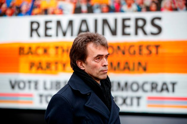 Tom Brake launches the Lib Dems' final campaign poster ahead of polling day in Westminster on December...