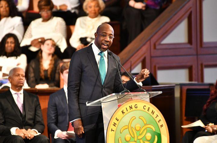 Rev. Raphael G. Warnock speaks onstage during a Martin Luther King, Jr. Commemorative Service at Ebenezer Baptist Church on J