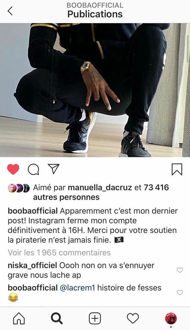 Booba sur Instagram, c'est fini