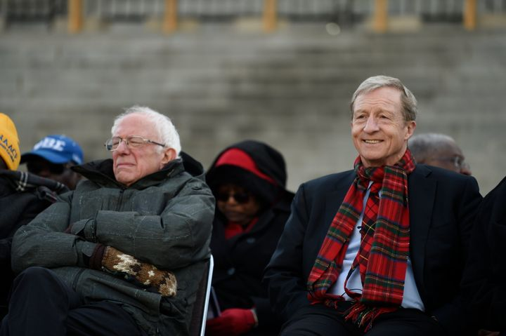 Democratic presidential hopefuls Bernie Sanders and Tom Steyer at a Martin Luther King Jr. Day rally on Jan. 20 in Columbia,
