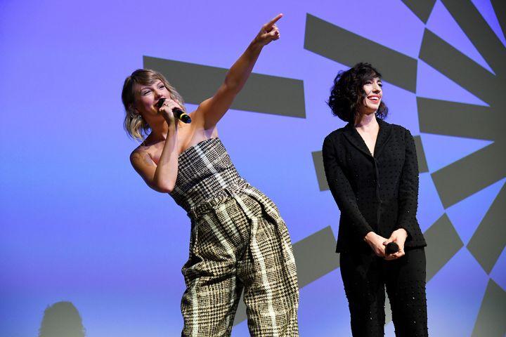 "Taylor Swift and Lana Wilson speak at the Netflix premiere of ""Miss Americana"" on Jan. 23 at the Sundance Film Festival in Park City, Utah."