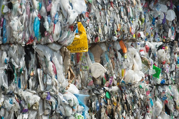 Plastics gathered for recycling at a depot in Vancouver on June, 10, 2019.