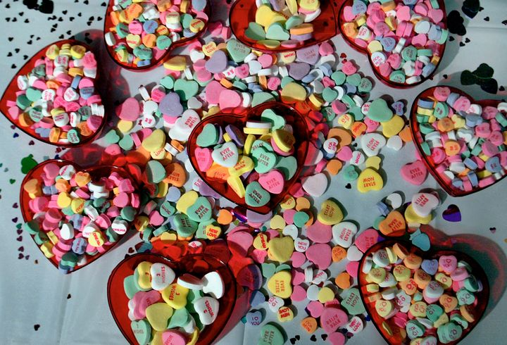 Necco heart candies, as they appeared in 2004.