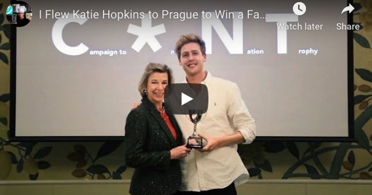 Someone Gave Katie Hopkins A Fake C**T Award – And 'She Flew To Prague To Accept It'