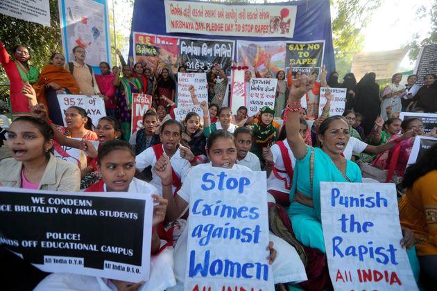 Manifestation de femmes indiennes contre les violences faites aux