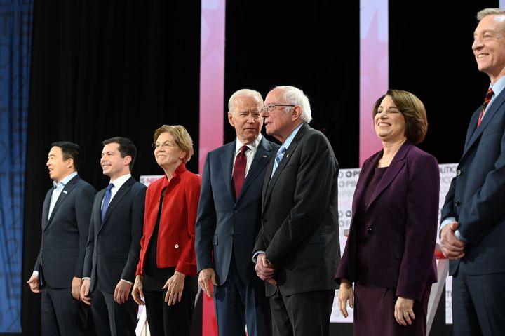 Democratic presidential hopefuls (L to R) Andrew Yang, Pete Buttigieg, Elizabeth Warren, Joe Biden, Bernie Sanders, Amy Klobu