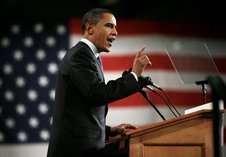 Then-Democratic presidential candidate Barack Obama speaks after winning the Iowa caucus on Jan. 3, 2008. He won in part than