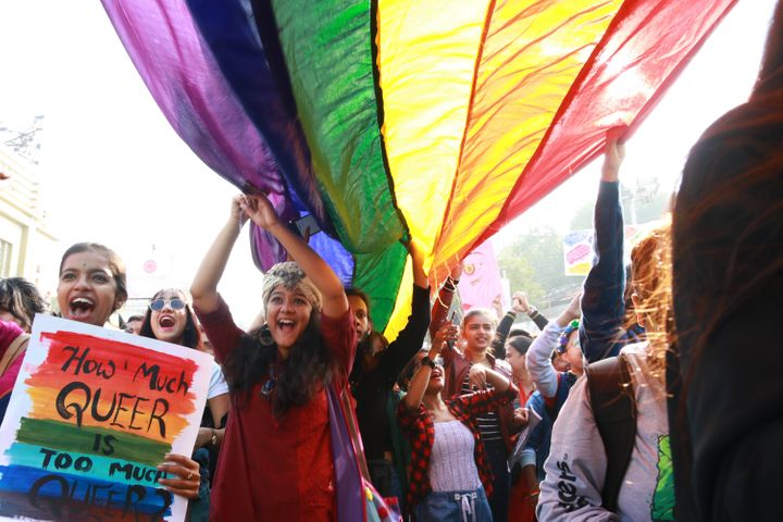 Members and supporters of LGBT take part in the pride parade and protest against Citizenship Amendment Act (CAA) and National Register of Citizens (NRC) on December 29, 2019 in Kolkata.