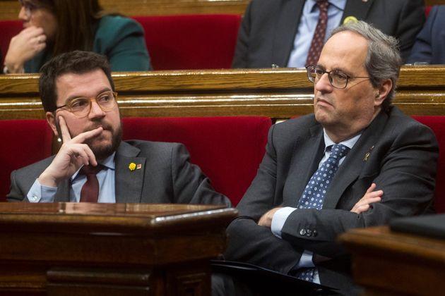 Pere Aragonès y Quim Torra en el Pleno del