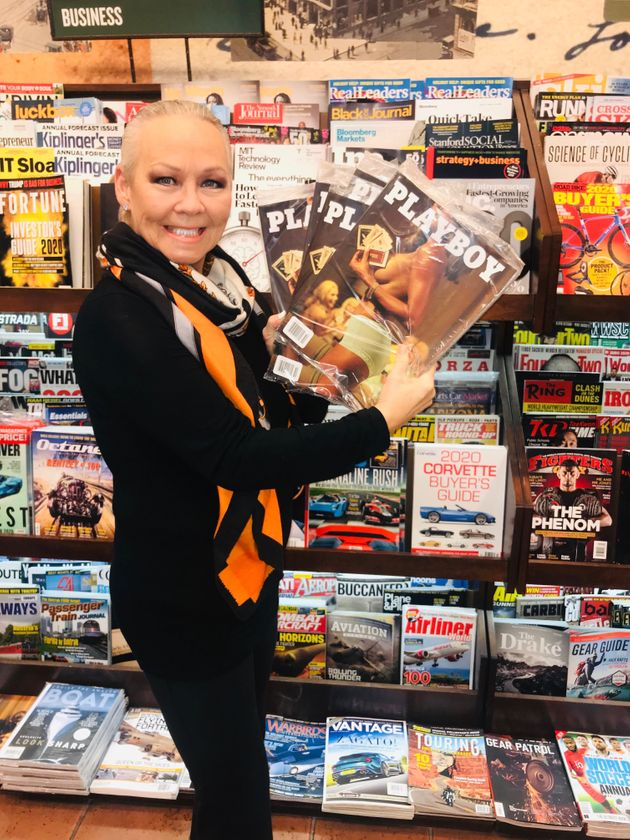 Candace Collins Jordan grabbing as many copies of the December 2019 Playboy Q1 Equality Issue as...