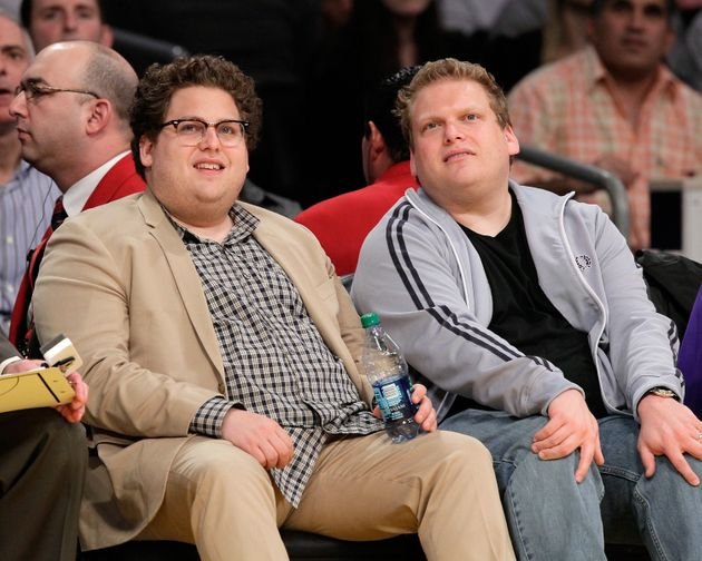 Jonah Hill and Jordan Feldstein attend Game 5 of the Western Conference Finals between the Phoenix Suns and the Los Angeles Lakers during the 2010 NBA Playoffs on May 27, 2010, in Los Angeles.