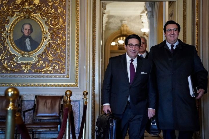 President Donald Trump's personal lawyer Jay Sekulow (left) and his son Jordan Sekulow arrive at the Senate chamber as the Se