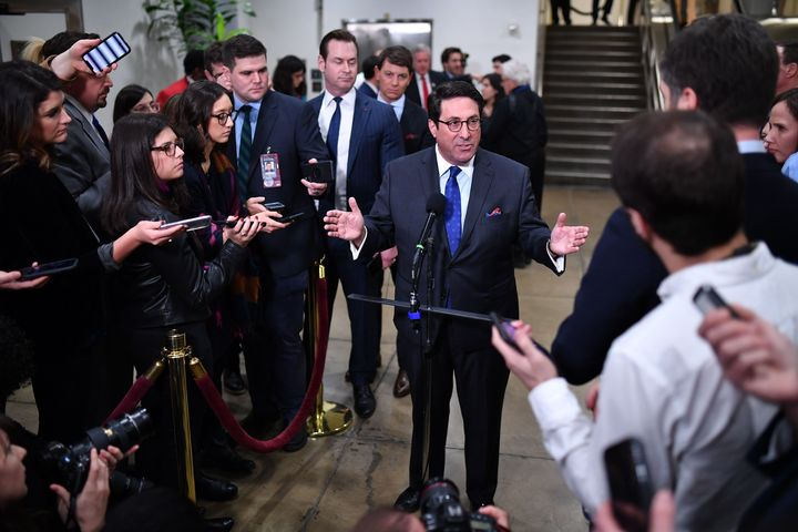 Jay Sekulow speaks to the press during a recess in the impeachment trial at the US Capitol on January 24, 2020 in Washington,