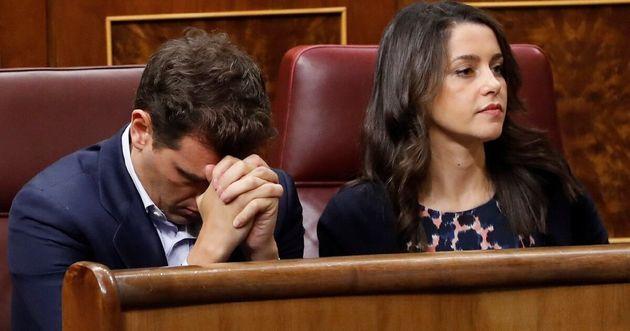 Albert Rivera e Inés Arrimadas durante la sesión de investidura de finales de julio de