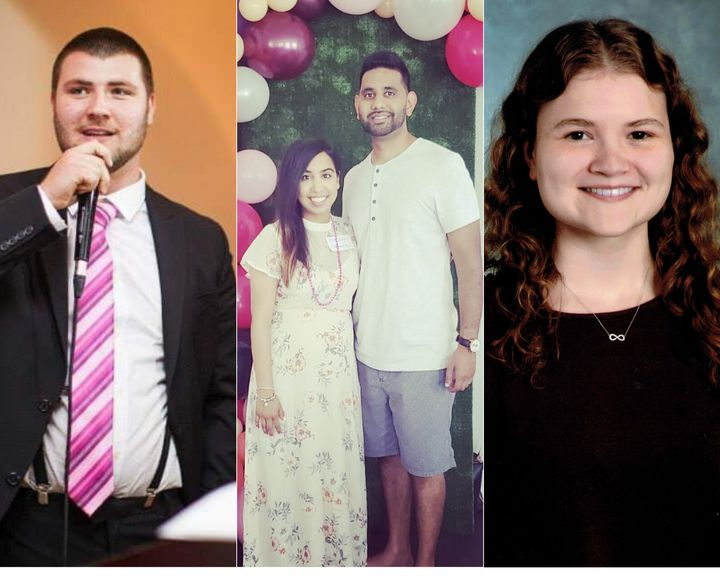 Left to right: David Romanchik, 25, Poonam Patel, 33, with her husband Ankoor, and Sydney Wettlaufer, 23, all live at home with their parents or in-laws.