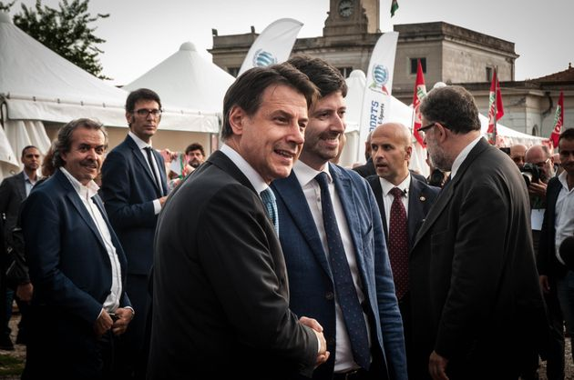 Italian Prime Minister Giuseppe Conte takes part in a labor party organized by the left wing political...