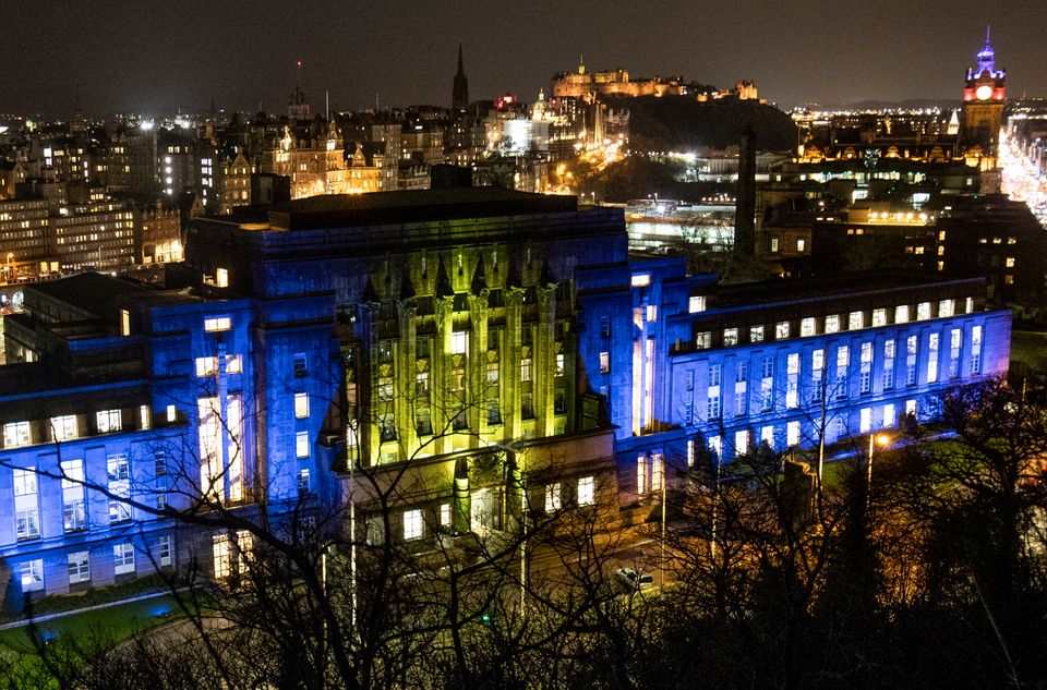 St Andrew's House, a Scottish Government building in Edinburgh, illuminated in the colours of the European...