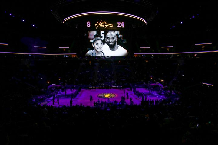 The Minnesota Timberwolves honor Kobe Bryant and his daughter Gianna before a game on Jan. 27, 2020.