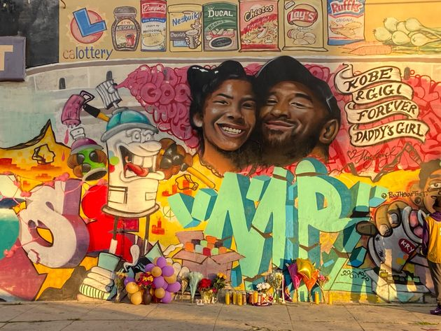 This mural, by artist Jules Muck, is among the many homages to Kobe Bryant splashed across walls all...