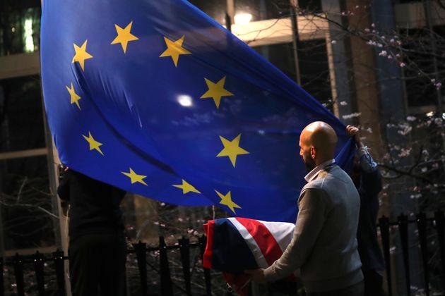 Le drapeau britannique retiré du parlement européen à Bruxelles le 31 janvier