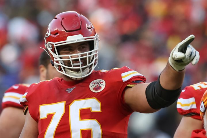 Kansas City Chiefs offensive guard Laurent Duvernay-Tardif points to the stands in the third quarter of the AFC Championship game on Jan. 19, 2020.
