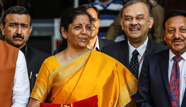 India's Finance Minister Nirmala Sitharaman during a photo opportunity before Budget
