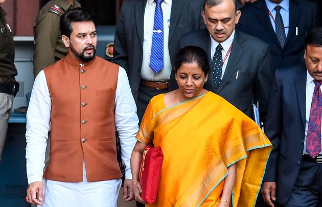 Finance Minister Nirmala Sitharaman leaves for the Parliament to announce the 2020-21 union