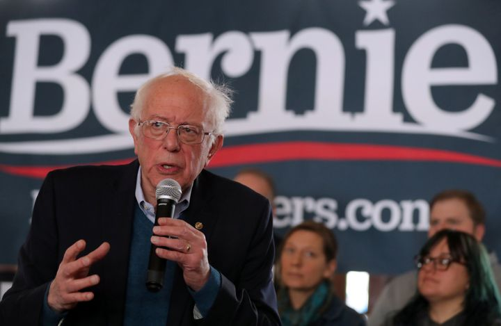 Sen. Bernie Sanders (I-Vt.) speaks at a town hall in Perry, Iowa, on Jan. 26. He is hoping that Latino voters will help prope