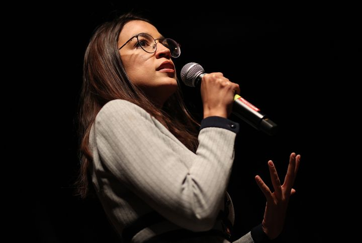 Rep. Alexandria Ocasio-Cortez (D-N.Y.) speaks at a campaign event for Democratic presidential candidate Sen. Bernie Sanders (