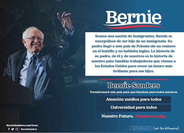 "A half-page ad in the Spanish-language weekly ""La Prensa Iowa"" highlighted Sanders' background as the son of an immigrant."