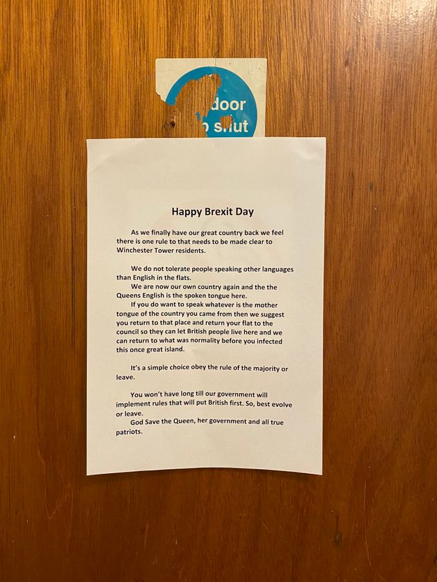 Neighbours Horror As Racist Happy Brexit Day Posters Put Up In Norwich Tower Block