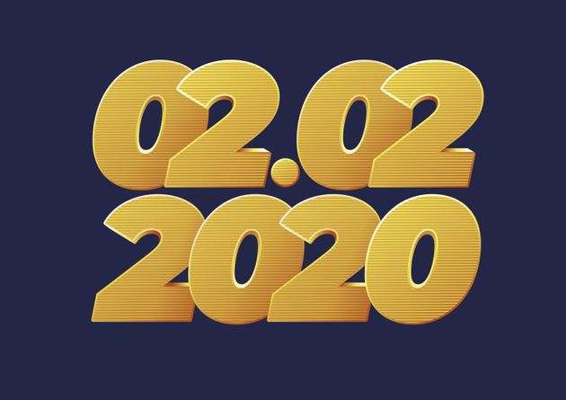 02.02.2020, 2 February 2020 banner. Golden luxury numbers. Gold Festive Numbers