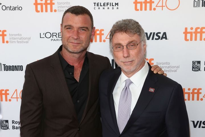 "Washington Post Executive Editor Marty Baron (right) with actor Liev Schreiber, who played the editor in the 2015 movie ""Spot"