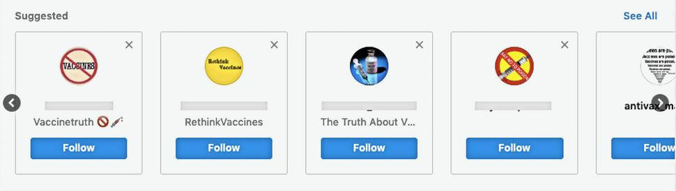 Instagram's algorithm recommended these accounts to HuffPost after we followed a single anti-vax page.