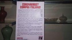 Blitz di Forza Nuova a Brescia: volantini sul coronavirus attaccati alle vetrine di negozi