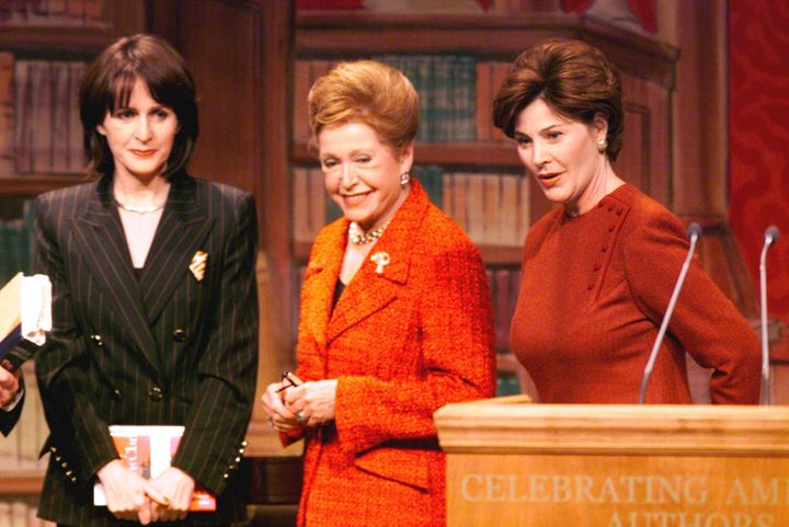 First lady Laura Bush, right, greets authors Carol Higgins Clark, left and Mary Higgins Clark, center, at the conclusion of a