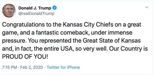 Trump Fumbles After Kansas City Chiefs Win Super Bowl, Names The Wrong