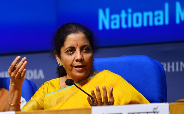 Union Finance Minister Nirmala Sitharaman addresses a press conference after presenting the Union Budget
