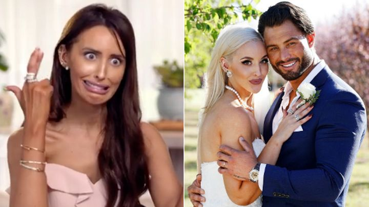 Elizabeth Sobinoff on Married At First Sight 2020 (L) and on the show in 2019 with Sam Ball (R).