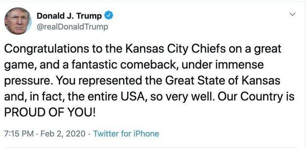 Donald Trump a confondu Kansas et Missouri dans un tweet de félicitations après le Super