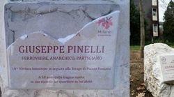 Danneggiata la targa dedicata a Giuseppe Pinelli dal Comune di