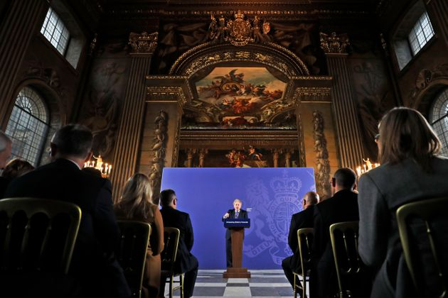 Boris Johnson delivers his unleashing Britain's potential speech in the painted hall, Old Royal Naval...