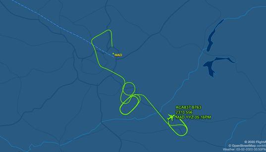 Este es el recorrido que ha hecho el avión desde que ha salido de