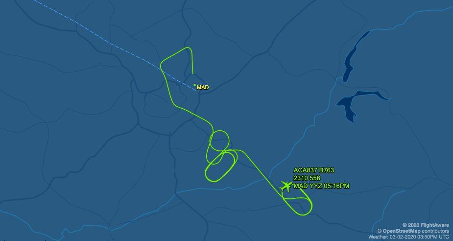 Recorrido del vuelo ACA837 de Canadian