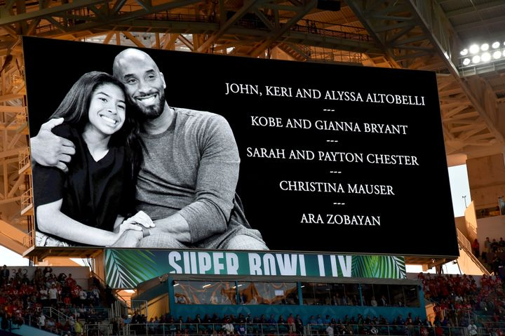 A moment of silence was held for Gianna and Kobe Bryant tribute during the Super Bowl LIV Pregame at Hard Rock Stadium on February 02, 2020 in Miami Gardens, Florida.