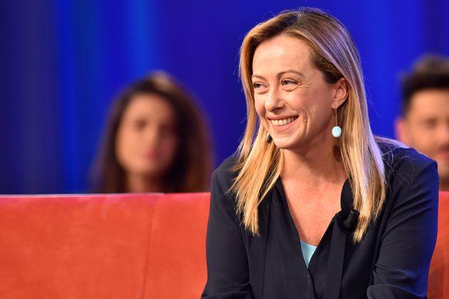 Italian politics Giorgia Meloni during second episode of tv broadcast Maurizio Costanzo show inthe Lumina...